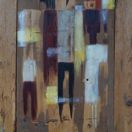 Huile sur bois porte ancienne 73x105 cm