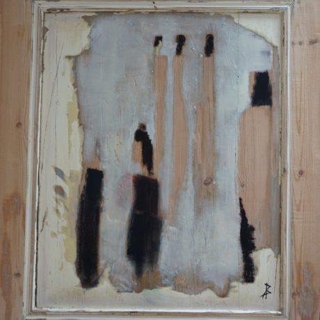 Huile sur bois porte ancienne 82x90 cm