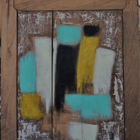 Huile sur bois sable  78 x 60 cm