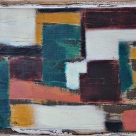 Peinture à l'huile sur porte ancienne 94.5 x 58.5 cm