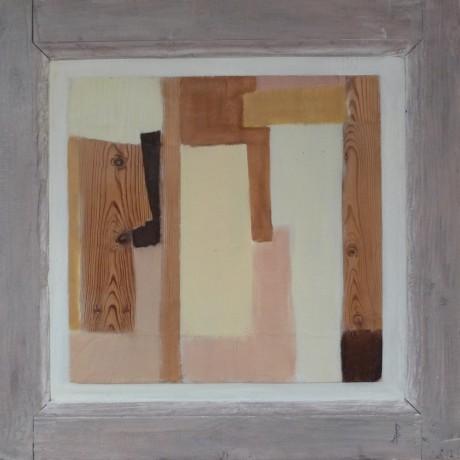 Huile sur bois porte ancienne 77,5 x 76 cm