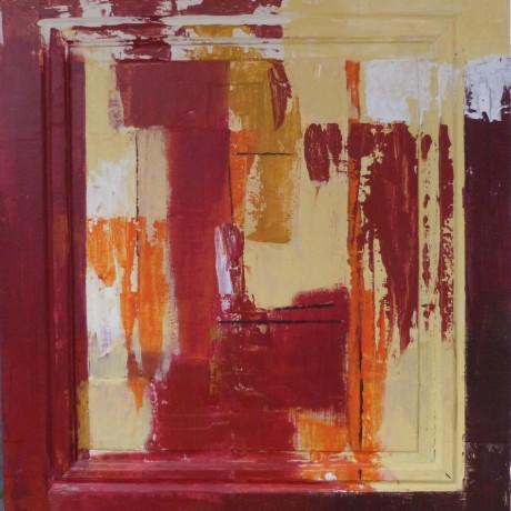 huile sur bois porte ancienne 67 cm x 74 cm