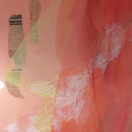 Huile sur toile et tissu gaze 81 cm x 100 cm (40F)