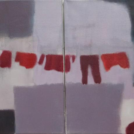 diptyque huile sur toiles 2 fois 40 cm x 40 cm