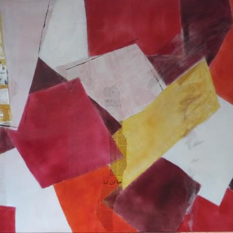 Huile sur toile sable et collage papier journal 100 cm x 81 cm (40F)