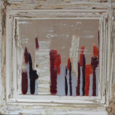 Huile sur bois porte ancienne 77,5 cm x 74 cm vendue