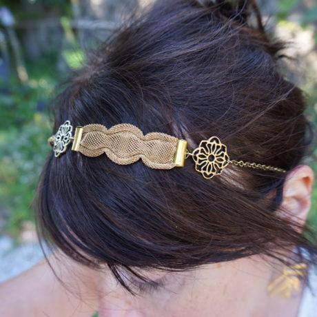headband doré maille vintage