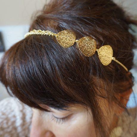 headband doré or 3 feuilles