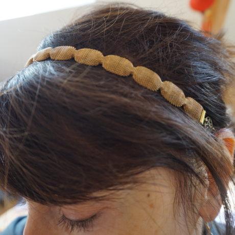 headband doré petite maille ondulée