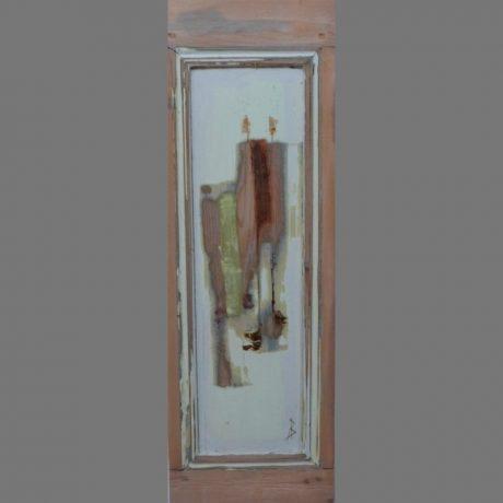 Huile sur porte ancienne en bois 27 cm x 82 cm Vendue
