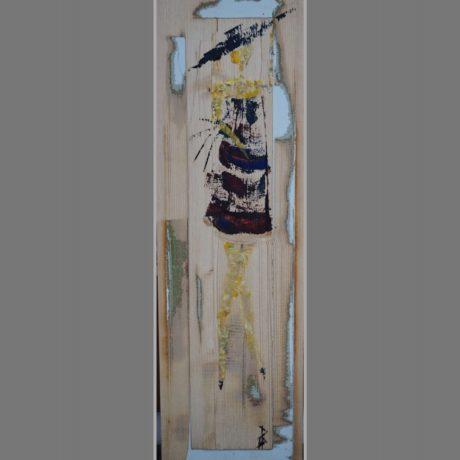 Huile sur bois, morceau de porte ancienne 20 x 66 cm