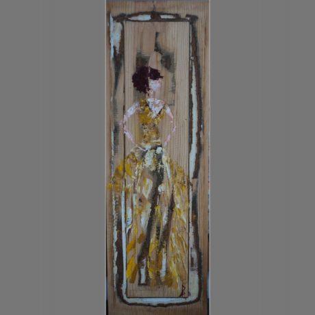Huile sur bois, morceau de porte ancienne 20 x 61 cm Vendue