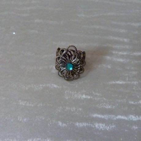 Bague rétro bronze et perle à facettes