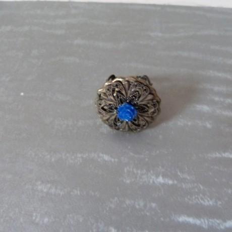 Bague rétro bronze et perle motif petite rose