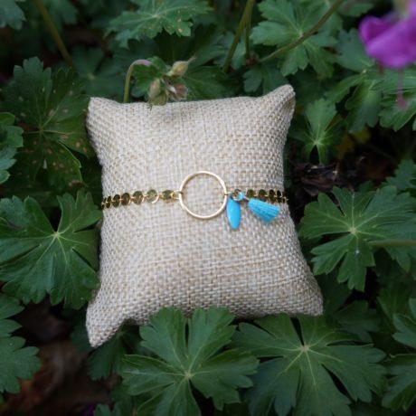 bracelet plaqué or anneau pompon sequin turquoise