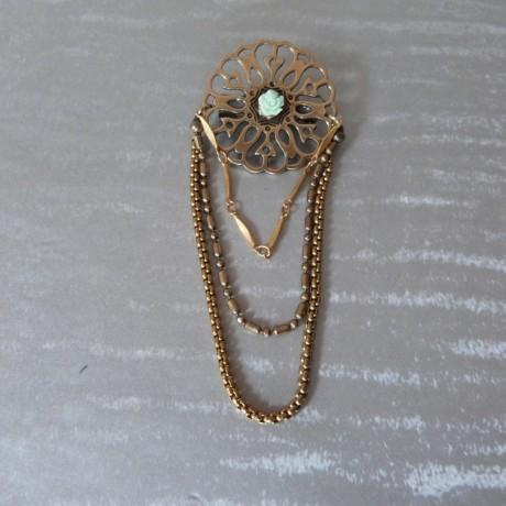 Broche large estampe perle petite rose et tombé de chaînes fantaisie