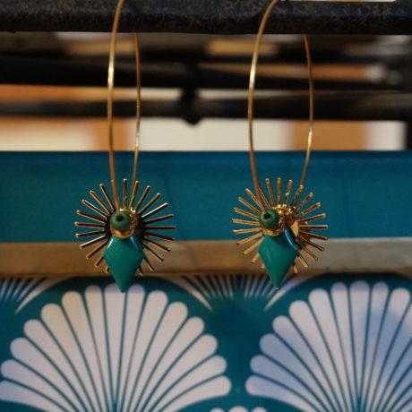 créoles or acier sequin soleil