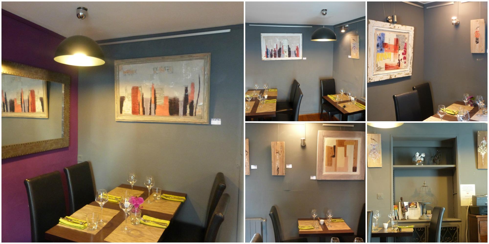 Mise en place de l'exposition de mes peintures au restaurant Le Bouquet Garni